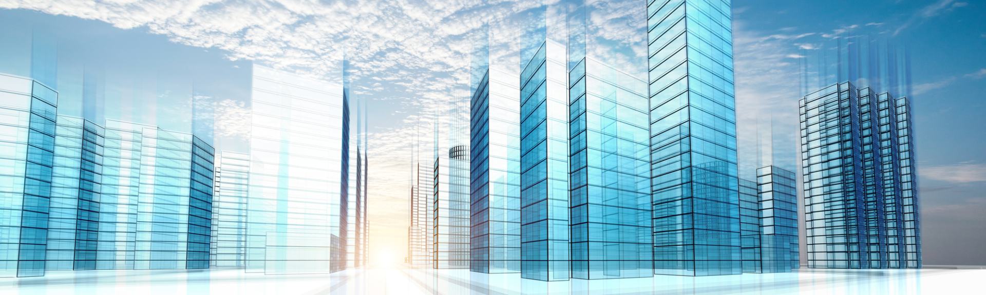 Illustration einer Front von Bürogebäude. Drahtmodell als Darstellung für Digitale Immobilienbranche oder RealEstate 4.0